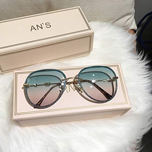 tggh Gafas de sol 2021 New Diamond Gafas de sol para mujer, diseño de imitación con diamantes de imitación, lentes degradadas, gafas de sol piloto para mujer (color: C07 rosa verde)
