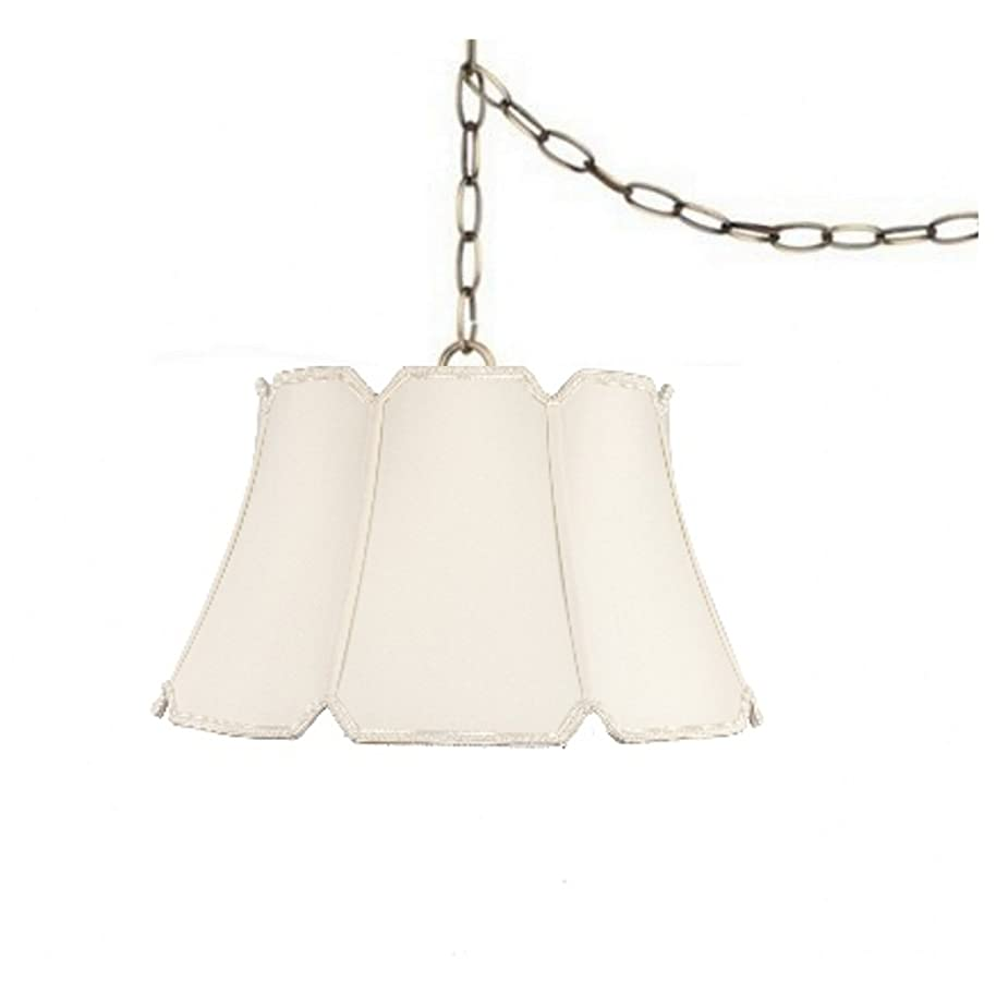 Upgradelights Eggshell Silk 19 Inch Swag Lamp Hanging Light Portable Plug in Lamp
