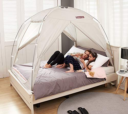 BESTEN Floorless Indoor Privacy Tent on Bed with Color Poles for Cozy Sleep in Drafty Rooms (Full/Queen, Gray)