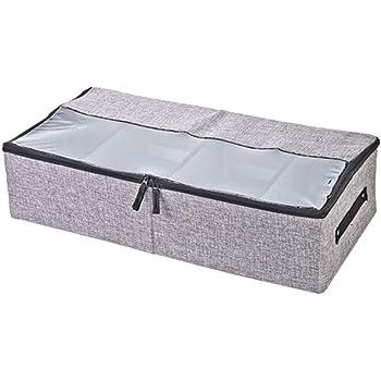 JUNSHUO Organizador de Zapatos Caja, Multifunción Plegable de Almacenaje de Zapatos para Debajo de la Cama con Cubierta de PVC Transparente y Divisores de Magic Cloth Extraíbles (Gris): Amazon.es: Hogar