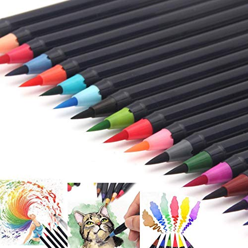 yiiena Soft Tip Painting Brush Refillable Watercolor Markers Calligraphy Permanent Markers