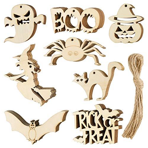 CHRORINE Halloween Wooden Slices Halloween Wooden Gift Tags Hanging Crafts...