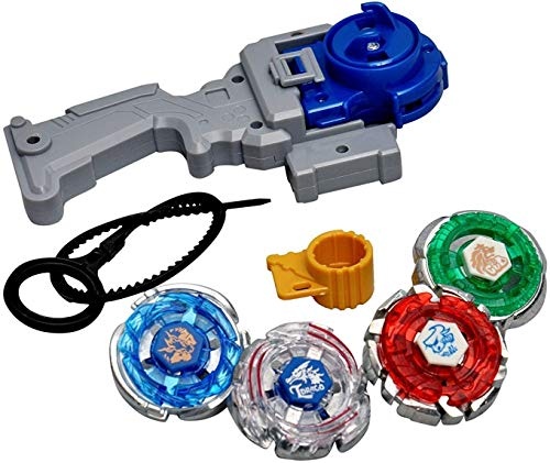 Hatello Toys pack of 4 in 1 Beyblades Metal Fighter Fury with Metal Fight Ring and Handle Launcher - Multi Color