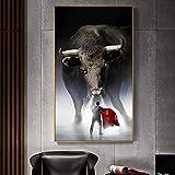 BailongXiao Decoración de la Pared Cartel del torero Arte de la Pared Pintura de la Lona Corrida de toros para la Sala de Estar decoración del hogar,Pintura sin Marco,60x105cm