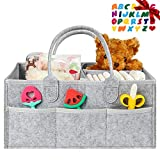 MTOUOCK Baby Diaper Caddy Organizer, Nursery Storage Bin for Boys and Girls, Large Diaper Organizers for Changing Table and Car, Newborn Baby Caddy Diaper Holder (Gray)