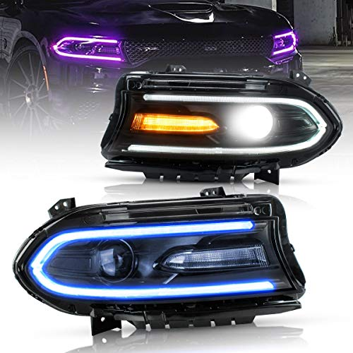 VLAND RGB LED Headlights for Dodge Charger 2015 2016 2017 2018 (Projector Headlight Assembly with Dual Beam) Multicolor RGB Halo DRL, YAA-XCHR-2033