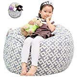 Great Eagle Stuffed Animal Storage Bean Bag Chair Cover 38 x 38 Inches Extra Large Cotton Canvas   Bean Bag Chair for Kids, Toddlers and Teens(Boys or Girls) Toy Storage Bag (Grey/Links)