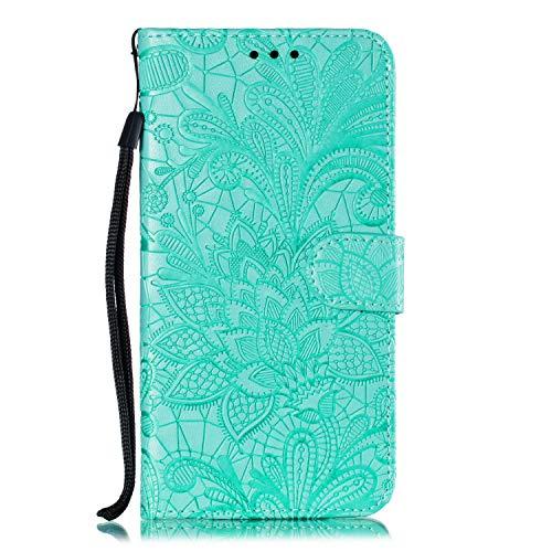 JIUNINE Hülle für Nokia 9 PureView, Handyhülle Leder Flip Hülle mit Blumen Muster [Kartenfach] [Magnetverschluss] [Silikon Innenschale] Schutzhülle Tasche Cover Lederhülle für Nokia 9 PureView, Grün