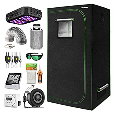 """VIVOSUN 24""""x24""""x48"""" Indoor Grow Tent Complete Kit with Air Filtration Kit, Ducting Combo, 300W Led Grow Light, Glasses, Hand Pruner, Garden Netting, Timer, Rope Hanger and Hygrometer Thermometer"""