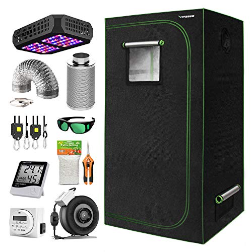 VIVOSUN 32'x32'x64' Grow Tent Kit, Indoor Tent Complete Kit with Air Filtration Kit, Ducting Combo, 300W Led Grow Light, Glasses, Hand Pruner, Netting, Timer, Rope Hanger and Hygrometer Thermometers