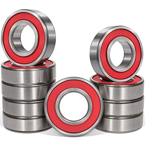 10 Pcs 6005-2RS Bearings (25x47x12mm) Double Rubber Red Seal Bearing, Deep Groove for Home Appliances, Garden Machinery,Industrial Equipment, Electric Toys and Tool, etc.