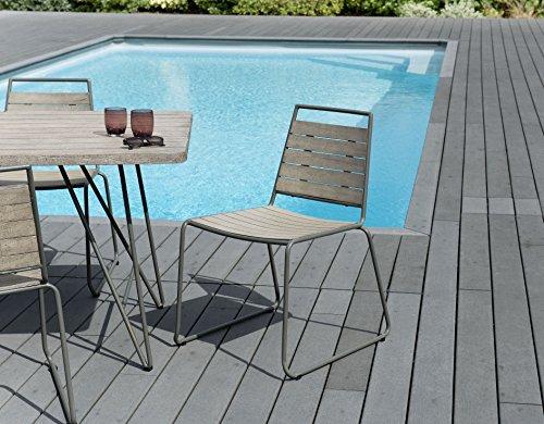 MACABANE 509001 Set de 2 Chaise, Gris, 66 x 58 x 88 cm, Lot de 2 chaises empilables bois et métal