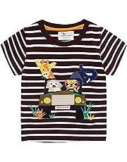 Camiseta para Niños Pequeños,Verano Muchachos Chicas Algodón Linda Dibujos Animados Animal Modelo Corto Manga Tops