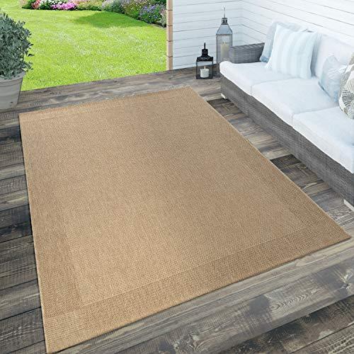 Paco Home In- & Outdoor Teppich, Terrasse u. Balkon, Wetterfest Einfarbig m. Struktur, Grösse:160x230 cm, Farbe:Beige
