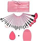 GUSODOR Profesional 24 pcs/set Pinceles de cosméticos multifunción Powder Set de pinceles de maquillaje cosmético y negro/rosa Funda de cuero de la PU Sponge Puff+pincel de limpieza de color rosa