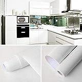 GLOBALDREAM Papel Adhesivo para Muebles, 40cm x 10m Muebles Pegatinas Blanco Vinilo Decoracion Papel Pegatina Muebles de Cocina para la Cocina Encimera Oficina de Baño