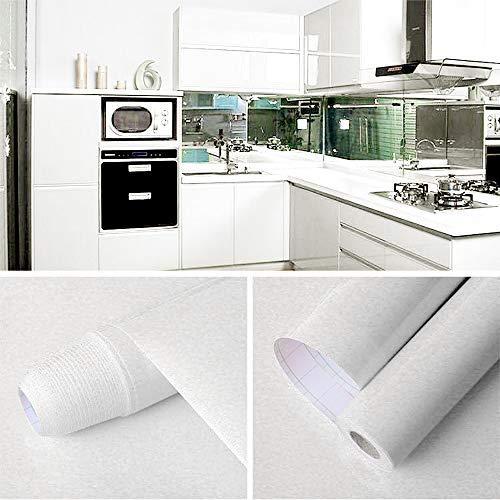 GLOBALDREAM Küchenschrank Folie Bekleben, 40cm x 10m Klebefolie Weiß Klebefolie Möbelfolie PVC Tapeten Selbstklebende Tapete für die Küchentheke, Wandaufkleber