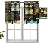 Hiiiman Cortinas opacas con ojales, cortinas cortas, con faldón, colorido maleta, Atique, juego de 1, 132 x 45 cm, cortinas de cocina para sala de estar