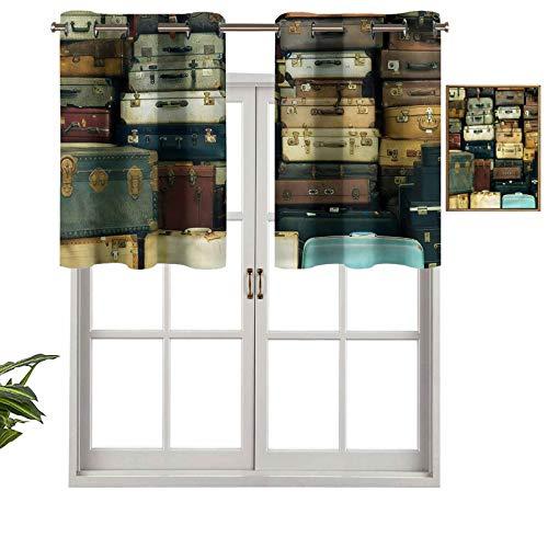 Hiiiman Cortinas opacas con aislamiento térmico para decoración del hogar, con ojales coloridos, maleta, juego de 2, 137 x 60 cm para ventana del sótano