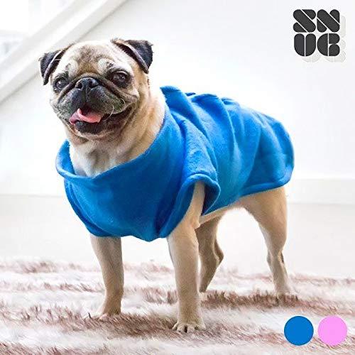 4yourpet Badjas voor honden met klittenbandsluiting aanpasbaar en mouwen, wasbare fleecedeken voor honden, blauw