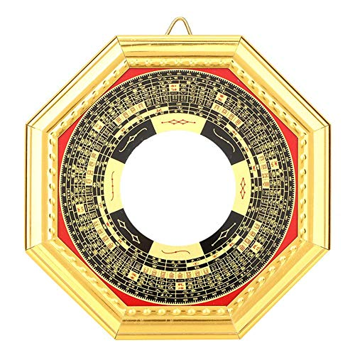 Atyhao Bagua Espejo Ornamental, Chino Tradicional Feng Shui Bagua Espejo Convexo/cóncavo Bagua Espejo con Banda de Oro Wealth Protection Ornament
