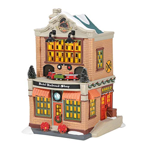 Department 56 Christmas in The City Village Model Railroad Shop Lit Building, 7.87 Inch, Multicolor