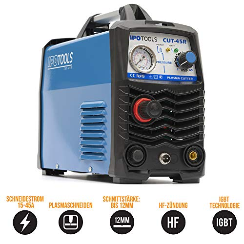 IPOTOOLS Plasmaschneider CUT-45R – Plasmaschneidgerät 45A bis 12 mm Schneidleistung Inverter Schweißgerät Plasma Cutter mit IGBT/HF Zündung/Blau / 230V - 4