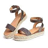 Sandalias Mujer Plataforma Alpargatas Cuña Verano Zapatos de Tacón Punta Abierta Comodas Vestir Correa Tobillo Hebilla Gris-1 39 EU