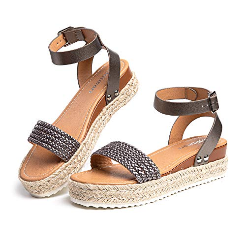 Sandalias Mujer Plataforma Alpargatas Cuña Verano Zapatos de Tacón Punta Abierta Comodas Vestir Correa Tobillo Hebilla Gris-1 41 EU
