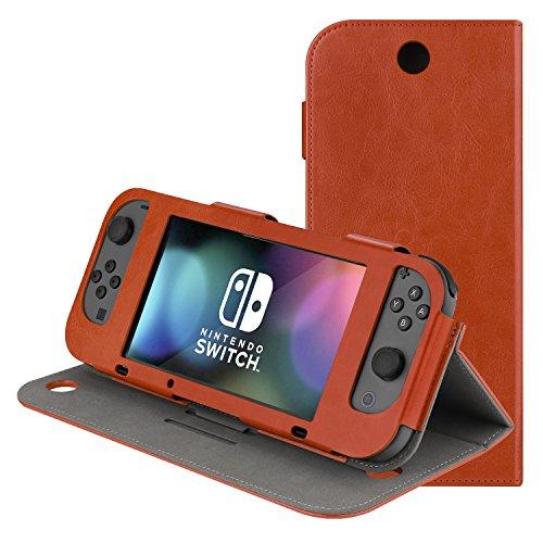 AK Estuche Compatible con Nintendo Switch, Funda Protectora Delgada de la Cubierta del Soporte del Juego del tirón de la PU para el Interruptor de Nintendo 2017 (Brown-Estar de pie)
