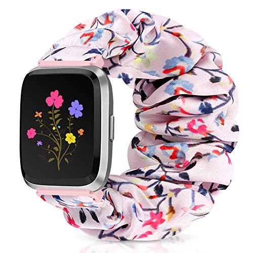 Runostrich Scrunchie Elastic Watch Band Women for Fitbit Versa/Versa 2/Versa Lite/SE, Floral Breathable Replacement Strap Scrunchy Wristband Bracelet Accessories (J Pink Grass, L)