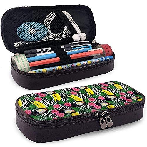 Jungle Toucan Exotic Pattern Pencil Case Große Kapazität Make-up Pen Pouch Bag Leder Langlebige Studenten Briefpapier mit Doppelreißverschluss Halter Box Organizer