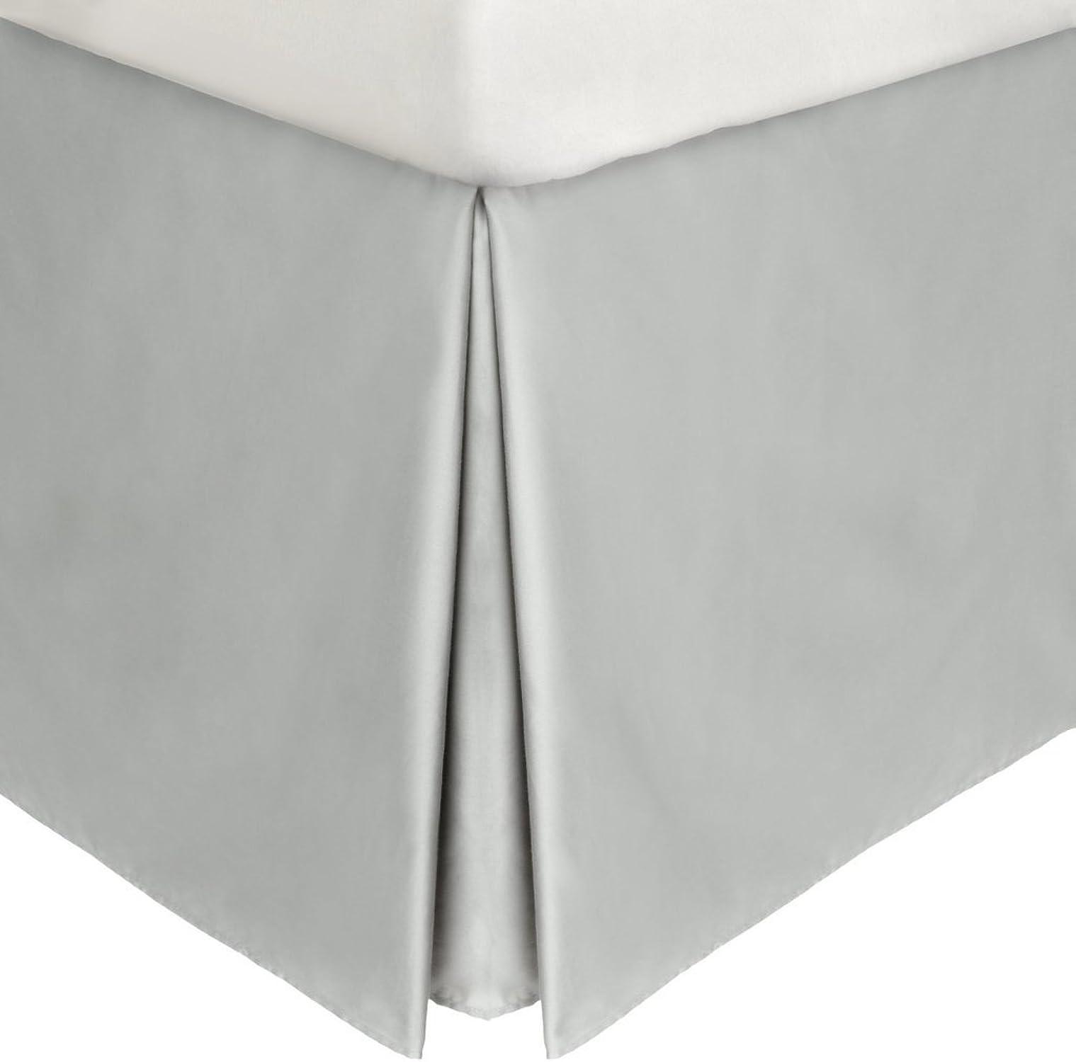 LaxLinens 250 fils cm2, 100%  coton, finition élégante 1 jupe plissée de chute lit Longueur    21  ), courirner, gris Argent Massif