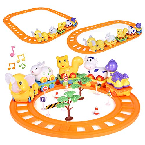 FUN LITTLE TOYS Toddler Train Set Toys, 27 PCs Train Track Toys with Musical Animals Toys, Zoo Carrier Train Cars, Optional Splicing Train Tracks, Animal Train Toy for Todders