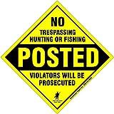 No Trespassing, No Hunting, No Fishing, Boundary Marker, Small, Diamond, Aluminum, Yellow, 10 Pack