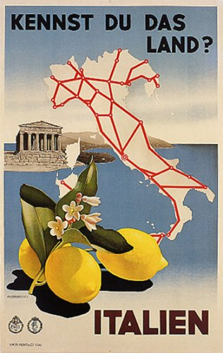 SICILY LEMONS RUINS ITALIAN MAP ITALY TRAVEL VINTAGE POSTER REPRO