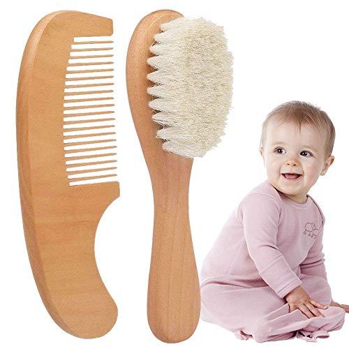 2pcs Brosse à Cheveux et Peigne à Cheveux en Bois Naturel pour bébé, Brosse à Poils de chèvre Naturelle pour Le Traitement du Berceau Brosse à Bois pour Les Nouveau-nés et Les