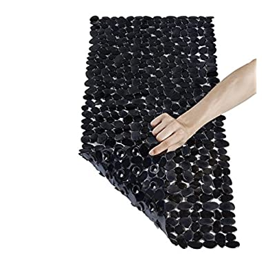 NTTR Non Slip Bath Mat Anti-Bacterial Tub Mat Pebbles Bathtub Mat Slip Resistant Shower Mats(Clear Black,16 W x 35 L Inches)