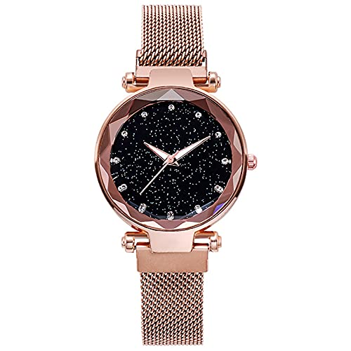 Reloj Mujer Moda Simple Esfera Estrellada Banda De Malla De Acero Inoxidable Cuarzo Analógico Reloj De Pulsera,Rose Gold