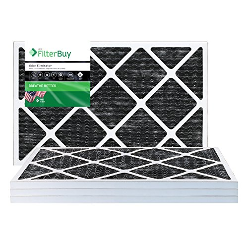 FilterBuy Allergen Odor Eliminator 16x20x1 MERV 8 Pleated AC Furnace Air Filter with Activated Carbon - Pack of 4-16x20x1