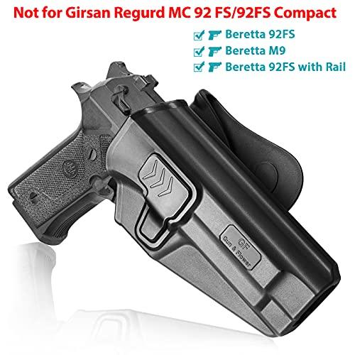 Beretta 92FS Holster, OWB Holster Fit Beretta 92 FS /Beretta 92 FS with Rail/ Beretta M9. Not for Girsan Regard MC 92fs/Compact. Polymer Paddle Holster for Outside Waistband, 360 Degrees Adjustable.