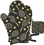 Divertidas raquetas de tenis y pelotas de tenis, guantes para horno y soportes para ollas, juego de 3 piezas, adecuado para cocinar en la cocina, guantes resistentes al calor para asar a la parrilla