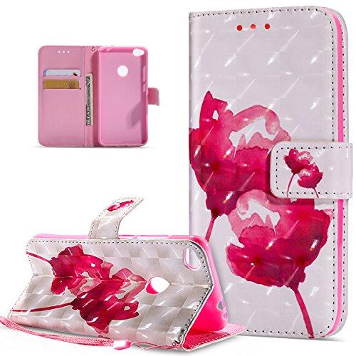 Kompatibel mit Huawei P8 Lite 2017 Hülle,3D Bunte Gemalte Schmetterlings PU Lederhülle Flip Ständer Wallet Handy Hülle Tasche Handy Tasche Schutzhülle für Huawei P8 Lite 2017,Rosa Lotus