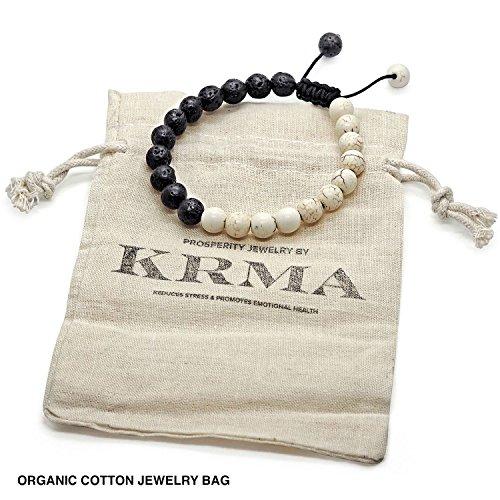 Chakra Bracelet by KRMA With Organic Cotton Jewelry Bag | Black Volcanic Lava Rock & Ivory Howlite | Japanese String | Energy Stone Prosperity Bracelet