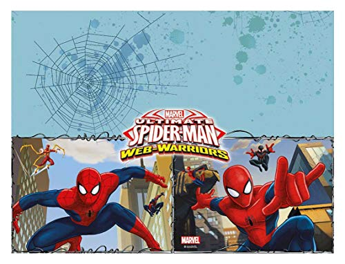 Procos 85155 - Tischdecke Ultimate Spiderman Web Warriors, Größe 120 x 180 cm, Partydekoration, Kindergeburtstag