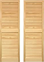 LTL Home Products SHL63 Exterior Solid Wood Louvered Window Shutters, 15