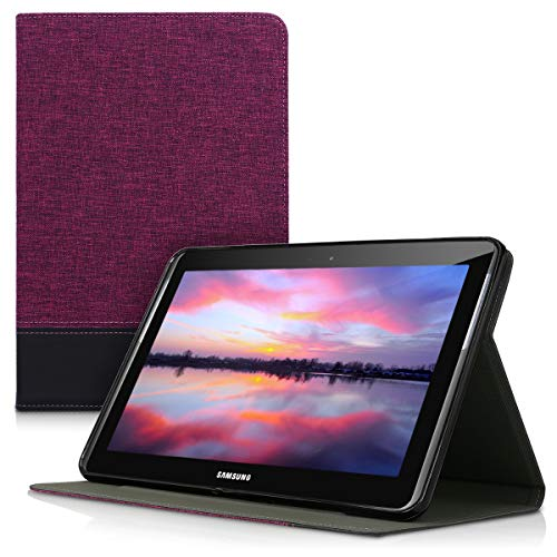 kwmobile Case Compatible with Samsung Galaxy Tab 2 10.1 P5100/P5110 - PU Leather and Canvas Cover with Stand Feature - Violet/Black