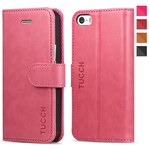 Etui iPhone 5s, TUCCH Housse Coque en Cuir Portefeuille de Protection, Format Livre Horizontale, Fentes de Carte avec Fonction Support et Fermeture Aimantée pour iPhone 5 (Rose Rouge et Gris)