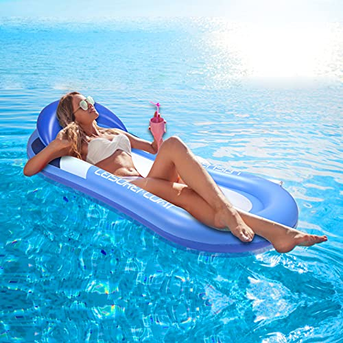 AODINI Pool Floats, Pool Lounger with Head Pillow, Lake Raft, Large Luxury Inflatable Swimming Pool Floating Ball, Portable Water Hammock, Recliner, Beach Floaty Party Toys for Kids Adults
