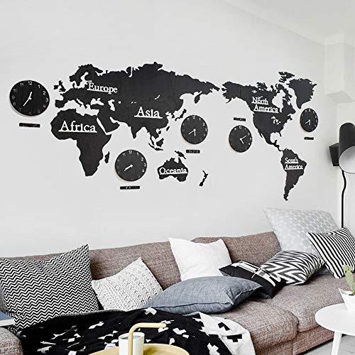 FCX-CLOCKUHR Weltkarte Uhren, 3D Stille Weltkarte aus Holz mit Uhren, Wohnzimmer Verzierte Moderne Wanduhr,Schlafzimmer Wohnzimmer Restaurant Bar Büro, Praktisch und präzise (größe : 220 * 105CM)